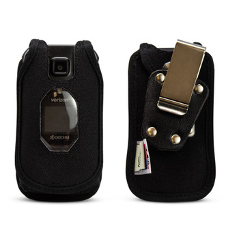 Kyocera DuraXV Extreme Case with Belt Clip Holster for Flip Phone with Black Nylon Metal Ratcheting Removable Clip
