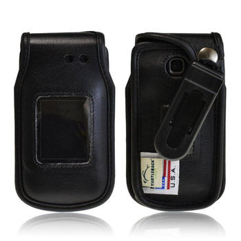 LG A340 Executive Black Leather Case Phone Case with Ratcheting Belt Clip