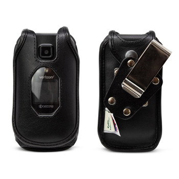 Kyocera DuraXV Extreme Flip Phone FITTED CASE Black Leather Metal Ratcheting Removable Clip