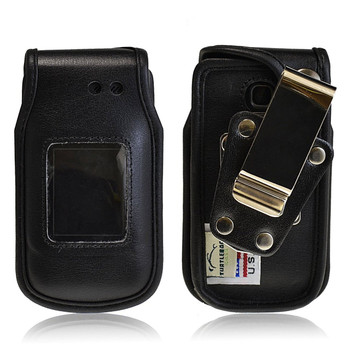 LG A340 Heavy Duty Black Leather Phone Case with Rotating Metal Belt Clip