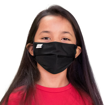 Kids Face Mask Black (Set of 2) | 2 Ply, Washable, Reusable Mask with Cotton Pocket, Nose Seal,  Adjustable Ear Loops