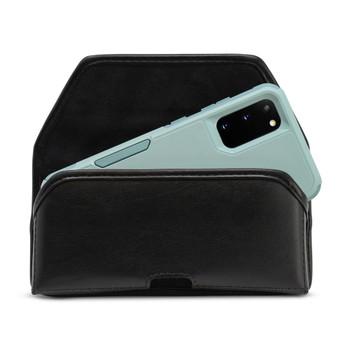 Galaxy S20, S21 Fits w/Otterbox Commuter Belt Case Black Leather Pouch Executive Belt Clip Horizontal