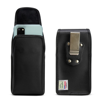 Galaxy S20 S21 w/Otterbox Commuter Vertical Holster Black Leather Pouch Rotating Belt Clip