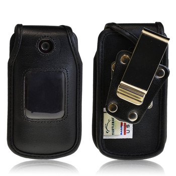 LG Wine 2 UN430 Heavy Duty Black Leather Phone Case with Rotating Metal Belt Clip