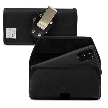 Samsung Galaxy Note 20 5G (2020) Belt Holster Black Nylon Pouch with Heavy Duty Rotating Belt Clip, Horizontal