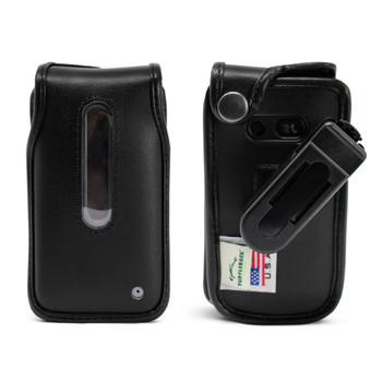 LG Wine 2 LTE Black Leather Case with Ratcheting, Removable Plastic Belt Clip
