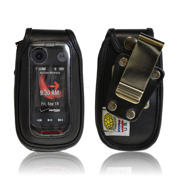 Motorola V860 Barrage ,  Leather Fitted with Metal Clip