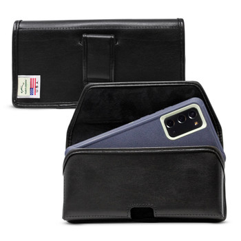 Samsung Galaxy Note 20 Belt Clip for Otterbox DEFENDER Case Turtleback Belt Case with Executive Flush Leather Covered Metal Belt Clip, Black Leather Pouch, Horizontal