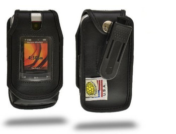 Motorola V750 Adventure Executive Black Leather Case with Ratcheting Belt Clip