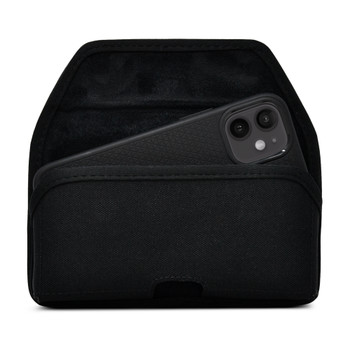 iPhone 12 Mini  Belt Clip Horizontal Holster Case Black Nylon Pouch Heavy Duty Rotating Clip