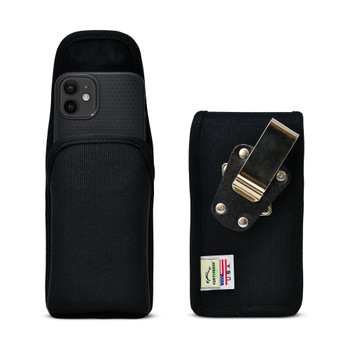 iPhone 12 Mini  Belt Clip Vertical Holster Case Black Nylon Pouch Heavy Duty Rotating Clip