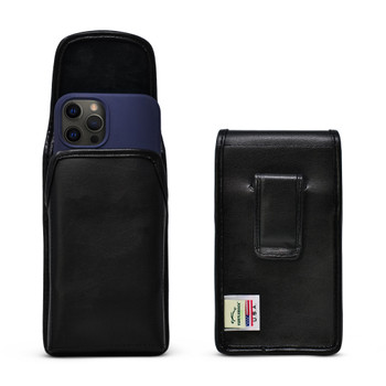 iPhone 12 Pro/12 5G (2020) Black Leather Vertical  Pouch with Executive Belt Clip, Made in the USA