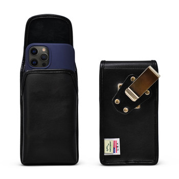 iPhone 12 Pro/12 5G (2020) Vertical  Black Leather Holster with Heavy Duty Rotating Belt Clip, Made in the USA