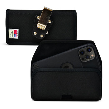 iPhone 12 Pro Max  Belt Clip, Horizontal Holster Case Black Nylon Pouch with Heavy Duty Rotating Clip