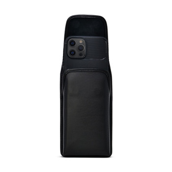 iPhone 12 Pro Max, Black Leather Pouch, Vertical Belt Holster With Executive Belt Clip