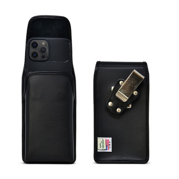 iPhone 12 Pro Max  Belt Case Vertical Holster Black Leather Pouch Heavy Duty Rotating Belt Clip