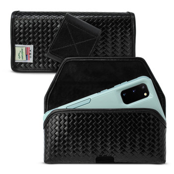 Galaxy S20 S21 Horizontal Belt Case for Otterbox COMMUTER, Black Basket Weave Leather Holster with ROTATING BELT LOOP
