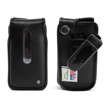 LG Classic (L125DL) Fitted Case Black Leather with Ratcheting, Removable Belt Clip, U S Cellular