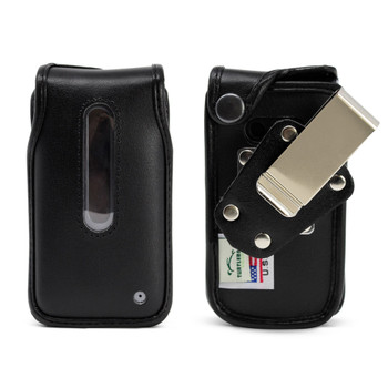 LG Classic (L125DL)  Fitted Case Black Leather Fitted Case with Heavy Duty Rotating Metal Belt Clip, U S Cellular