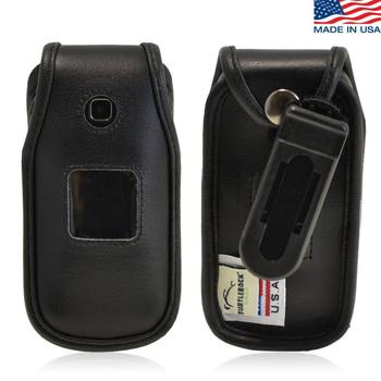 Samsung Denim A207 Executive Black Leather Case Phone Case with Ratcheting Belt Clip
