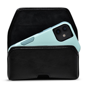iPhone 12 Mini 5G (2020) Fits with Shockproof OTTERBOX COMMUTER, Horizontal Black Leather Belt Holster with Executive Belt Clip, Made in USA