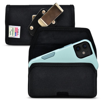 iPhone 13 Mini / 12 Mini Fits with Shockproof OTTERBOX COMMUTER, Horizontal Black Nylon Holster with Heavy Duty Rotating Belt Clip, Made in USA