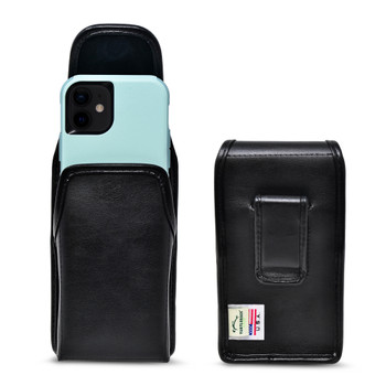 iPhone 12 Mini 5G (2020) Fits with Shockproof OTTERBOX COMMUTER, Black Leather Vertical Holster Case with Executive Belt Clip, Made in USA
