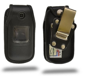 Samsung T159 Black Leather Heavy Duty Case with Rotating Removable Metal Clip