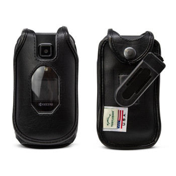 Kyocera DuraXE Epic Flip Phone FITTED CASE Black Leather Plastic Ratcheting Removable Belt Clip