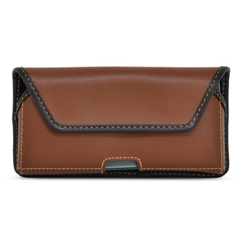 iPhone 13 & 12 Pro / iPhone 13 & 12 Belt Case BROWN Leather Holster with Executive Belt Clip, Horizontal