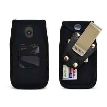 AT&T Cingular Flip 4 IV U102AA Black NYLON Flip Phone Fitted Case Metal Removable Clip