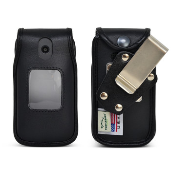 AT&T Cingular Flip IV 4 U102AA Black LEATHER Flip Phone Fitted Case Metal Removable Clip