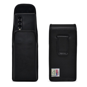 Galaxy Z Fold3 5G Holster Case Black Leather Pouch with Executive Belt Clip