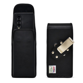 Galaxy Z Fold3 5G Vertical Holster Black Leather Pouch with Heavy Duty Rotating Belt Clip