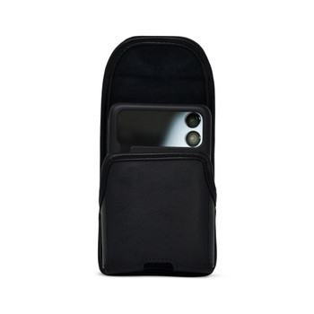 Galaxy Z Flip3 5G Vertical Holster Black Leather Pouch with Heavy Duty Rotating Belt Clip