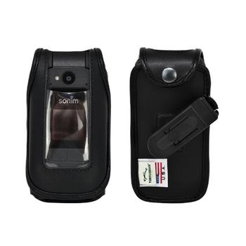 Sonim XP3plus Fitted Black Leather Case Plastic Ratcheting Removable Belt Clip
