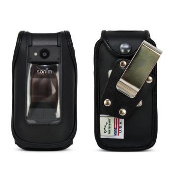 Sonim XP3plus Case Heavy Duty Fitted Black Leather Case Removable Belt Clip