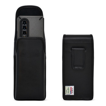 Galaxy Z Fold 3 (2021) with Bulky Fit Case Vertical Belt Case Black Leather Pouch with Executive Belt Clip