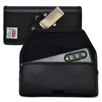Galaxy Z Fold3 (2021) with Thin Fit Case Horizontal Holster Black Leather Pouch Heavy Duty Rotating Belt Clip