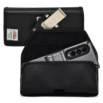 Galaxy Z Fold3 (2021) with Bulky Fit Case Horizontal Holster Black Leather Pouch Heavy Duty Rotating Metal Belt Clip