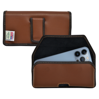iPhone 13 Pro Max / 12 Pro Max Belt Holster Case Brown Leather Pouch Executive Belt Clip Horizontal