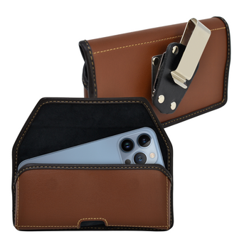 iPhone 13 Pro Max / 12 Pro Max Belt Case Horizontal Holster Brown Leather Pouch Heavy Duty Rotating Clip