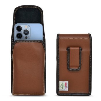 iPhone 13 Pro Max / 12 Pro Max, Brown Leather Pouch, Vertical Belt Holster With Executive Belt Clip