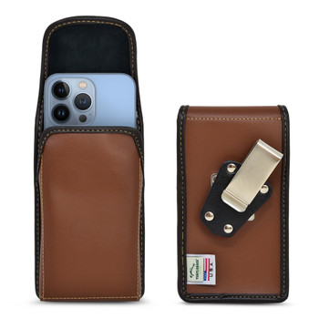 iPhone 13 Pro Max / 12 Pro Max  Belt Case Vertical Holster Brown Leather Pouch Heavy Duty Rotating Belt Clip