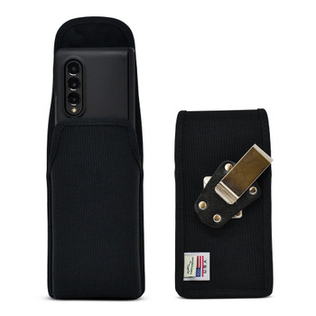 Galaxy Z Fold3 (2021) with Bulky Fit Case Vertical Holster Black Nylon Pouch Heavy Duty Rotating Metal Belt Clip
