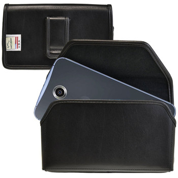 Google Nexus 6 Horizontal Leather Holster, Black Belt Clip