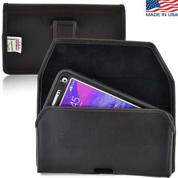 Note 4 Extended Horizontal Leather Fixed Clip Holster