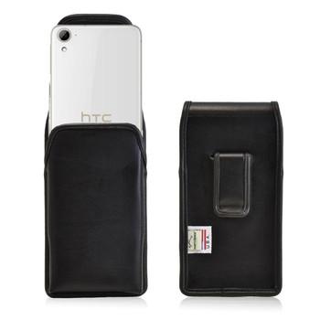 HTC Desire 826 Vertical Leather Holster, Black Belt Clip