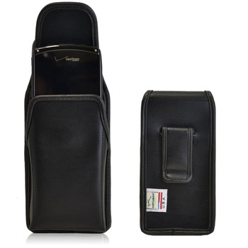 Kyocera Brigadier E6782 Vertical Leather Holster, Black Belt Clip