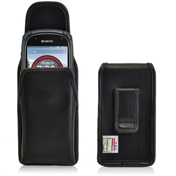 Kyocera Torque XTE6710 Vertical Leather Holster, Black Belt Clip